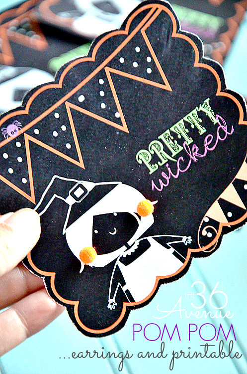Free Halloween Printable and Pom Pom Earrings Tutorial at the36thavenue.com ...Pretty Wicked!