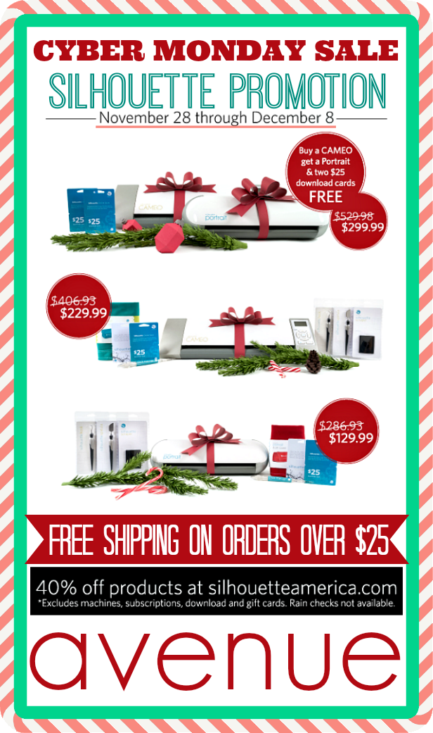 Cyber MONDAY Silhouette SALE!!!! Click on the image and use promo code: avenue during checkout!