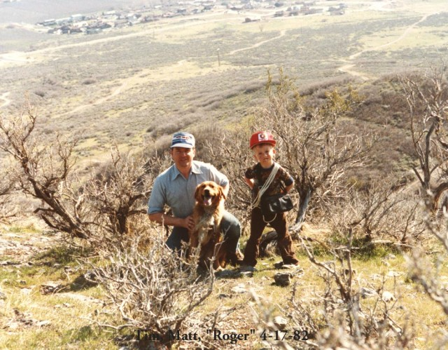 Roger, Matt, TRC 4-17-82 on hillside hike
