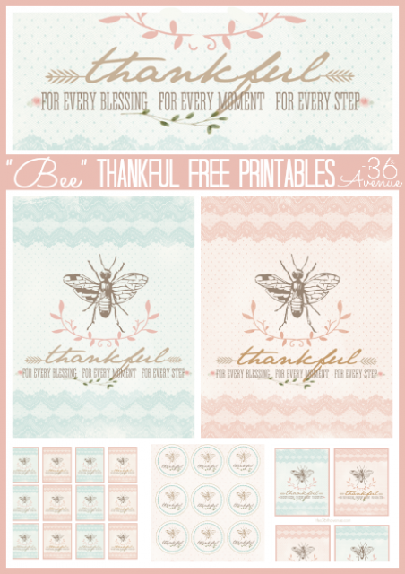 """Bee"" Thankful Free Printables at the36thavenue.com Perfect for Thanksgiving!"