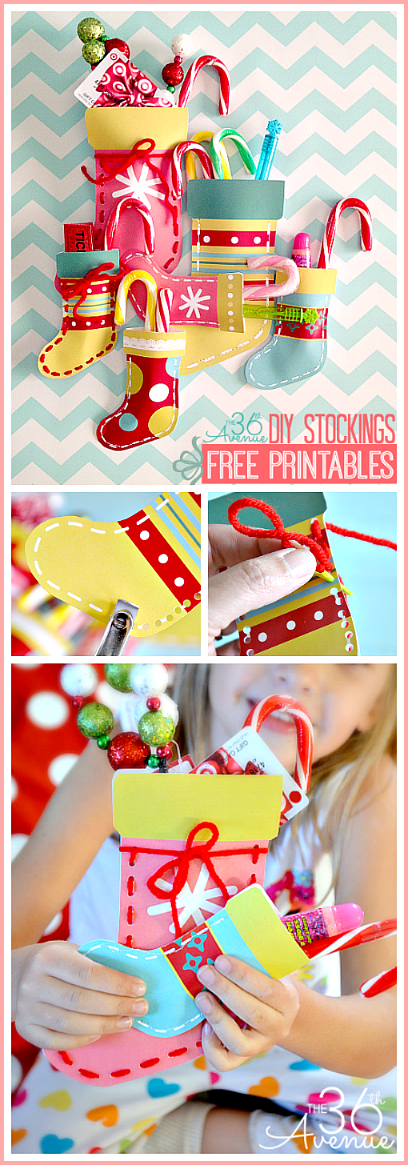Make these DIY Christmas Stockings using the adorable FREE PRINTABLES at the36thavenue.com Such a cute way to give gift cards and small presents! #christmas #gifts #printables