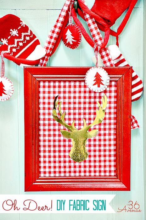 "Christmas: 10 minute DIY Fabric Sign TUTORIAL… Oh ""deer"", this is so cute! #christmas #diy #gifts"