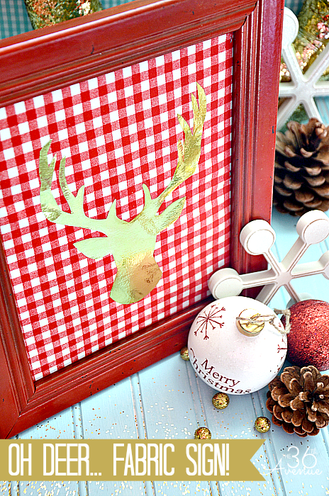 "Christmas: 10 minute DIY Fabric Sign TUTORIAL… Oh ""deer"", this is so cute! #christmas #diy #gifts"