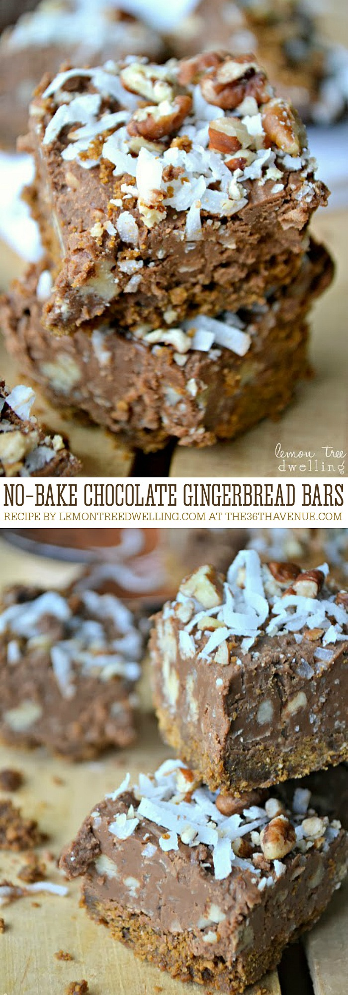 Christmas Recipes - These No Bake Chocolate Gingerbread Bars are delicious. Perfect for Christmas Parties, desserts, and edible christmas gifts. PIN IT NOW and make them later!