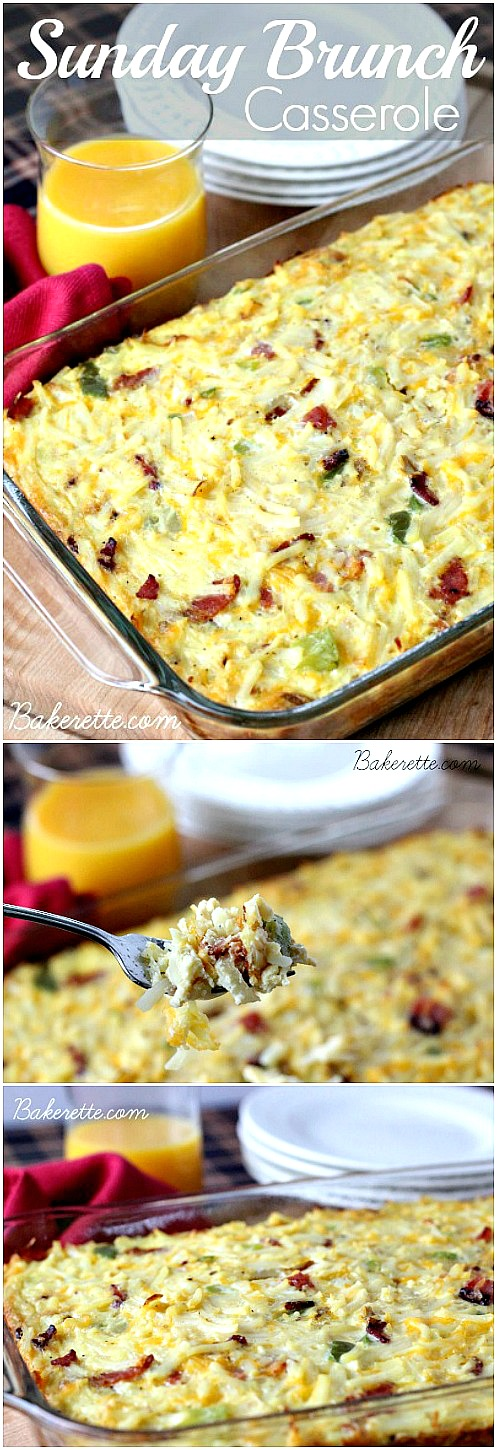 Best Recipes on Pinterest - This Sunday Brunch Casserole recipe is a hearty egg, hashbrown, bacon and cheese dish to feed a crowd. Perfect for breakfast or dinner. Make it the day of or ahead. PIN IT NOW and make it later!
