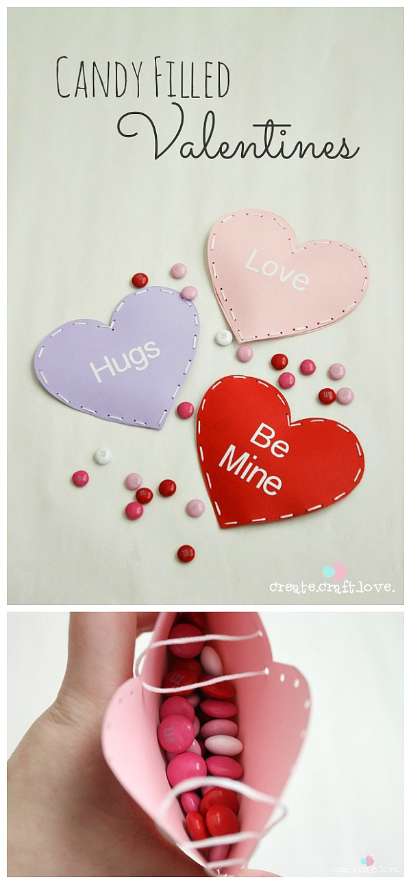 Whip up these Candy Filled Valentines for the school party!  via createcraftlove.com for The 36th Avenue #valentines #kidscraft
