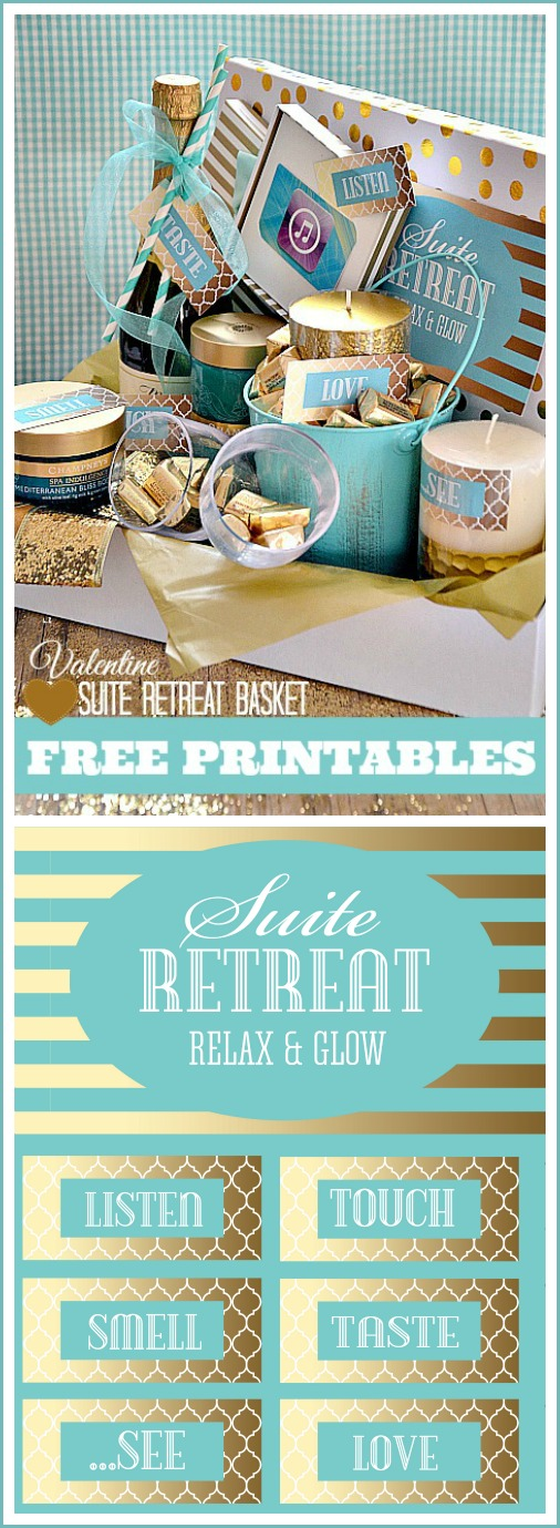Free Printables to make this adorable Suite Retreat Basket. Perfect for a romantic date and Valentine's Day gift!