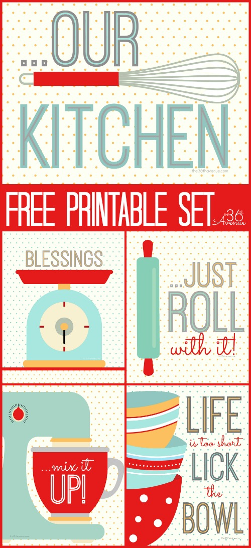 Kitchen Free Printable Set - These printables are super cute and perfect to decorate the kitchen!