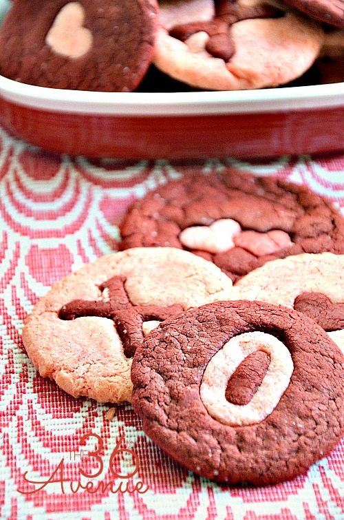 Three Ingredient Pink and Red Velvet Cookie Recipe at the36thavenue.com …These are adorable and perfect for Valentine's Day! #valentines #recipe