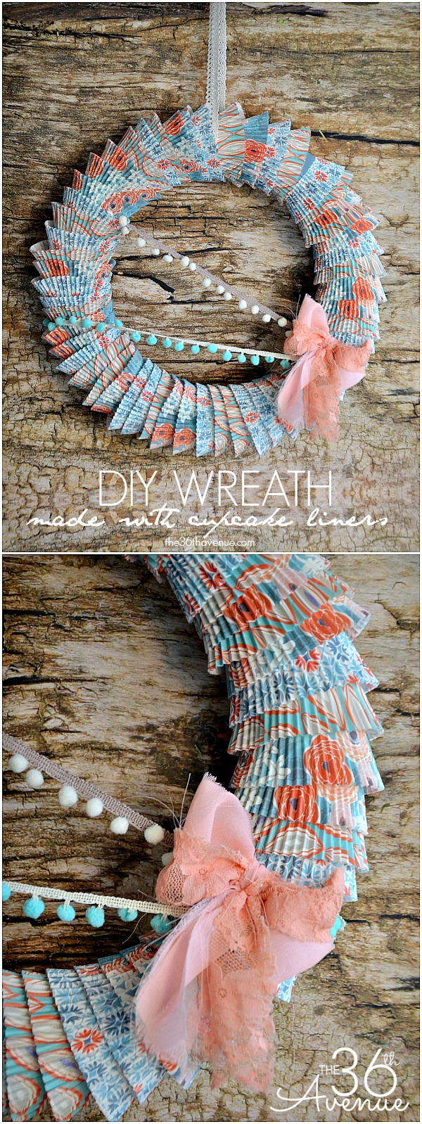 DIY Cupcake Liner Wreath @the36thavenue.com #wreath
