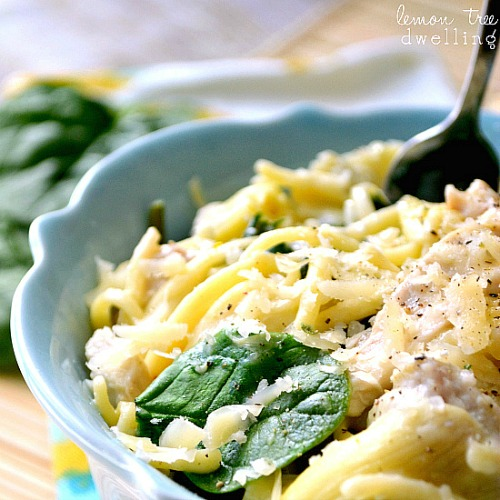 Spinach Artichoke Chicken Pasta