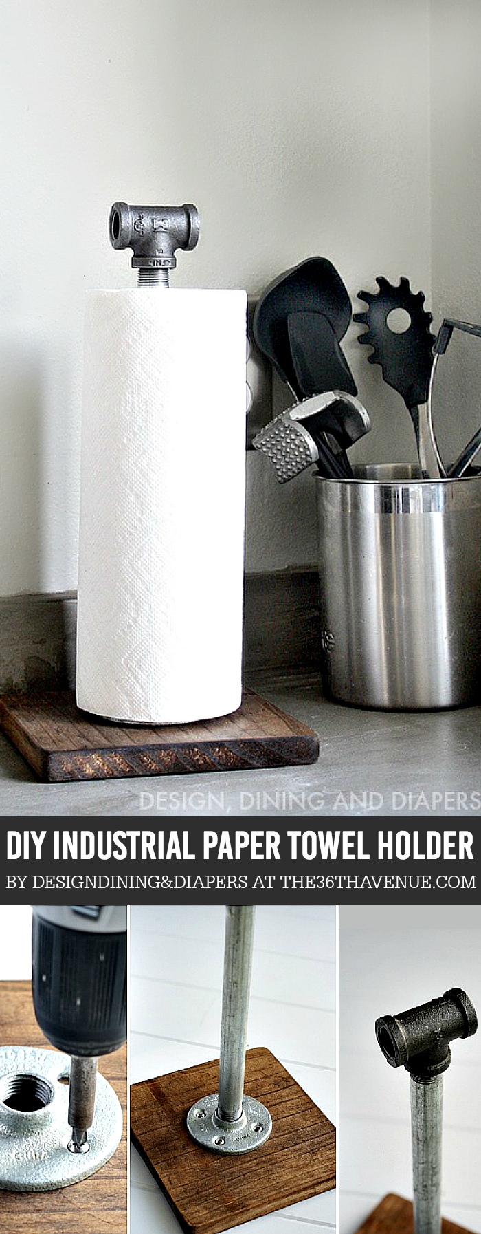 DIY Industrial Paper Towel Holder made from wood and plumbing pipes.
