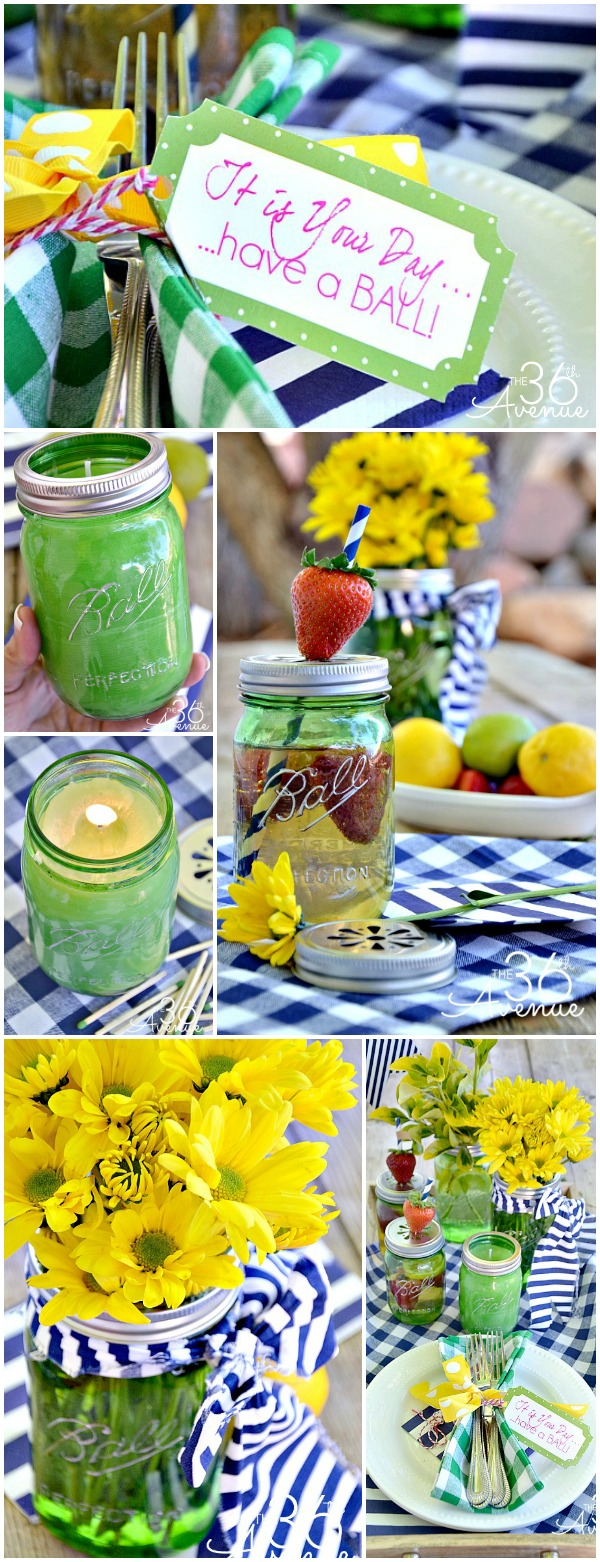 Super cute DIY Mason Jar Crafts and outdoor Party Idea! #heritagecollection