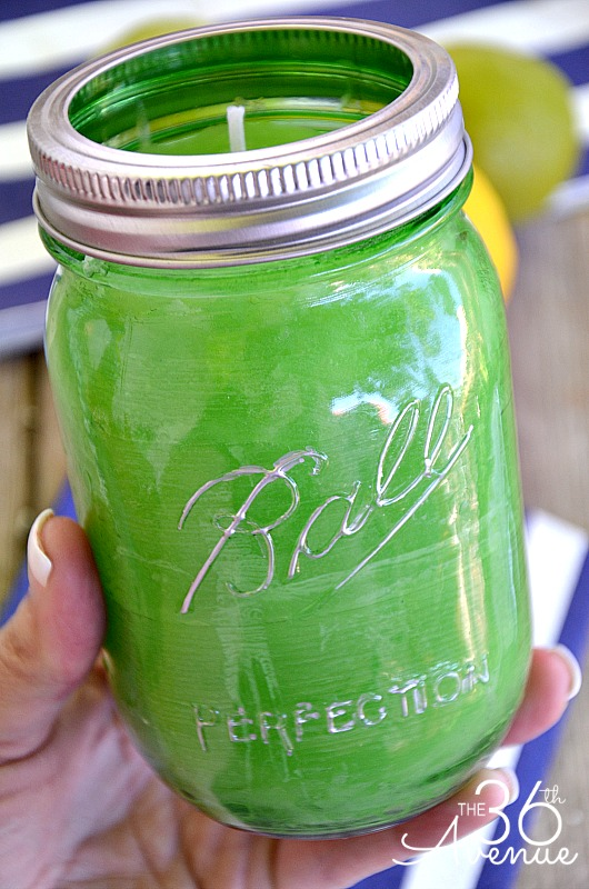 DIY Mason Jar Candle Tutorial... Cute for gifts and outdoor parties! #heritagecollection