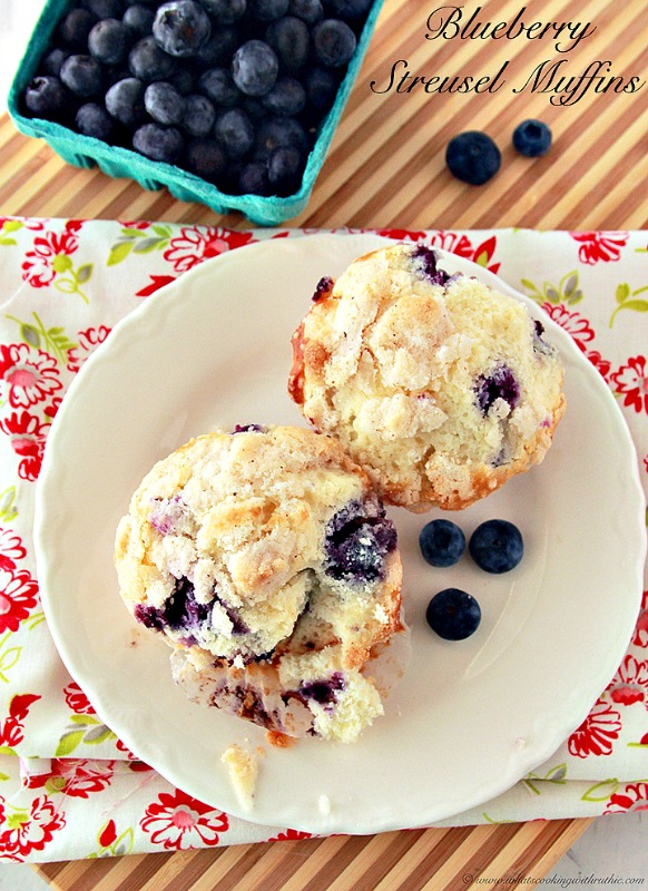 Blueberry Streusel Muffins by www.whatscookingwithruthie.com
