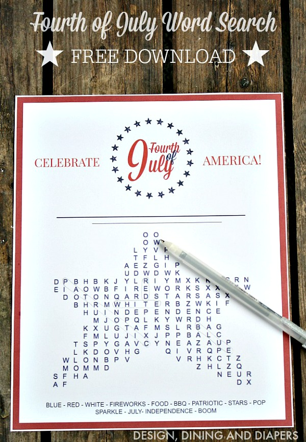 Fourth of July Word Search - Free Download
