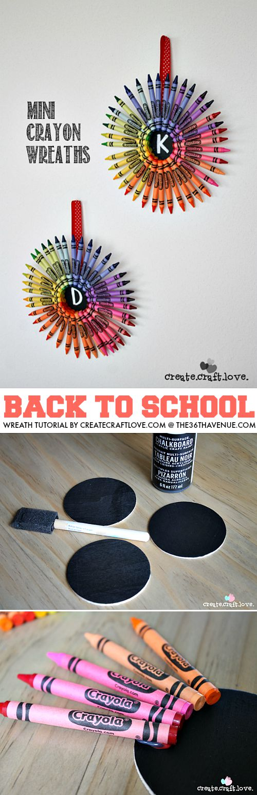 Back to School Wreath Tutorial by createcraftlove.com So cute!