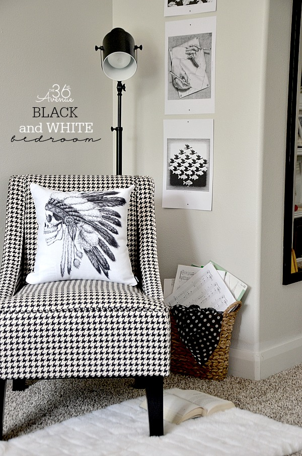 Black and White Chic Bedroom Makeover by the36thavenue.com