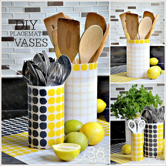 Turn a placemat into a trendy vases under five minutes. Cute, affordable and super easy! the36thavenue.com #diy #crafts