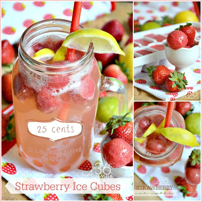 Strawberry Ice Cubes Recipe by the36thavenue.com Such an easy and delicious way to add flavor to your drinks!