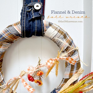 Wreath : DIY Flannel and Denim Wreath Tutorial at the36thavenue.com