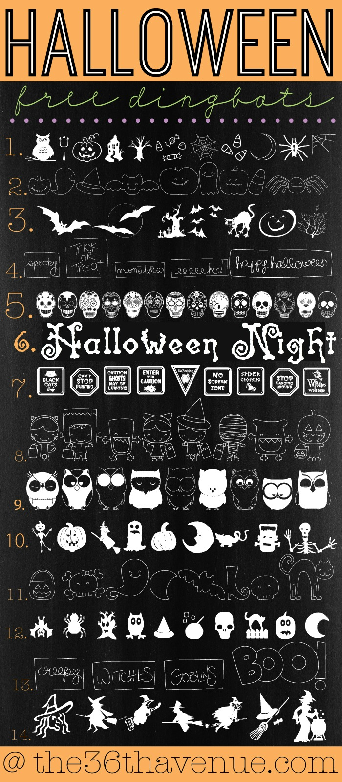 Halloween-Dingbats-the36thavenue.com