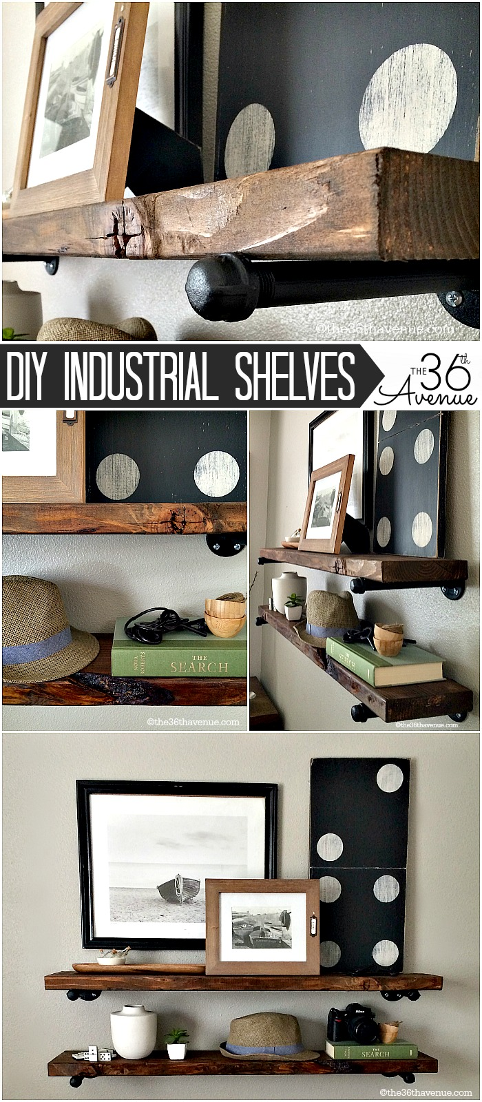 DIY Industrial Shelving the36thavenue.com