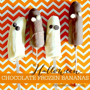 Halloween Recipes - Easy Chocolate Frozen Bananas... Kids love making them and eating them! the36thavenue.com