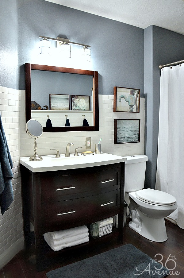 The 36th avenue home decor bathroom makeover the for Grey bathroom decorating ideas