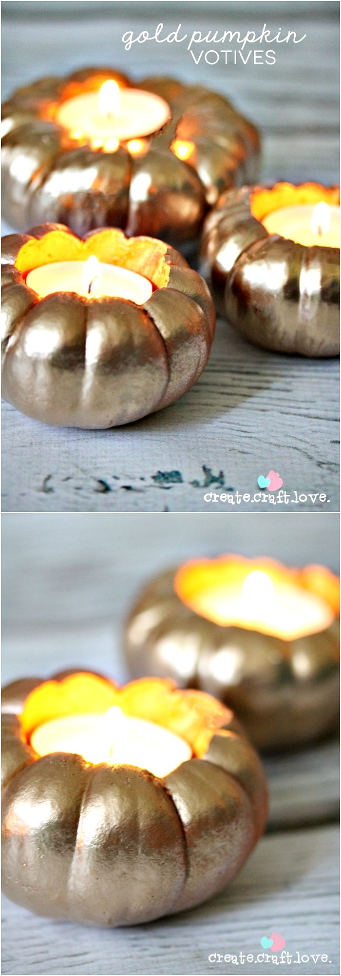 Create these Gold DIY Pumpkin Votives via createcraftlove.com for @the36thavenue