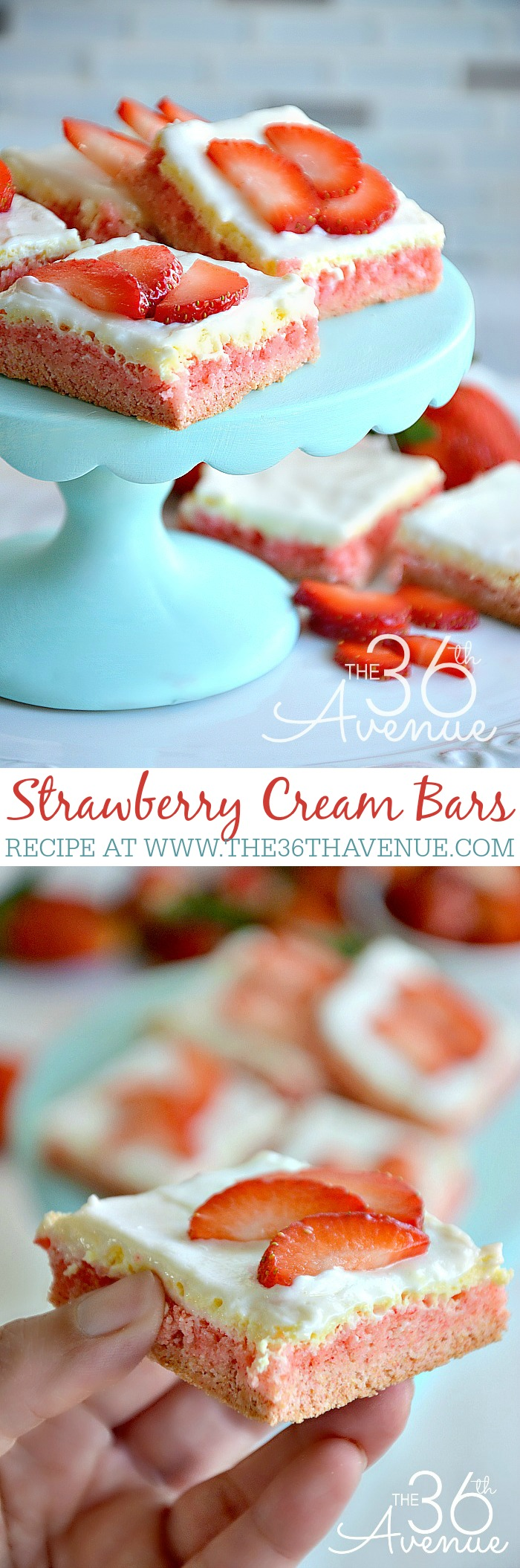 Strawberry Cream Bar Recipe by the36thavenue.com
