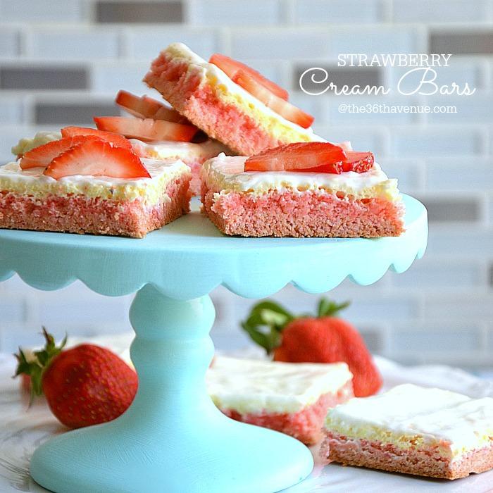 Strawberries And Cream Recipe Easy Recipe Strawberry Cream Bars