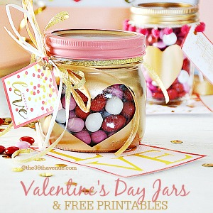 Valentines Day Gift Idea - Super cute candy jars and free printable at the36thavenue.com