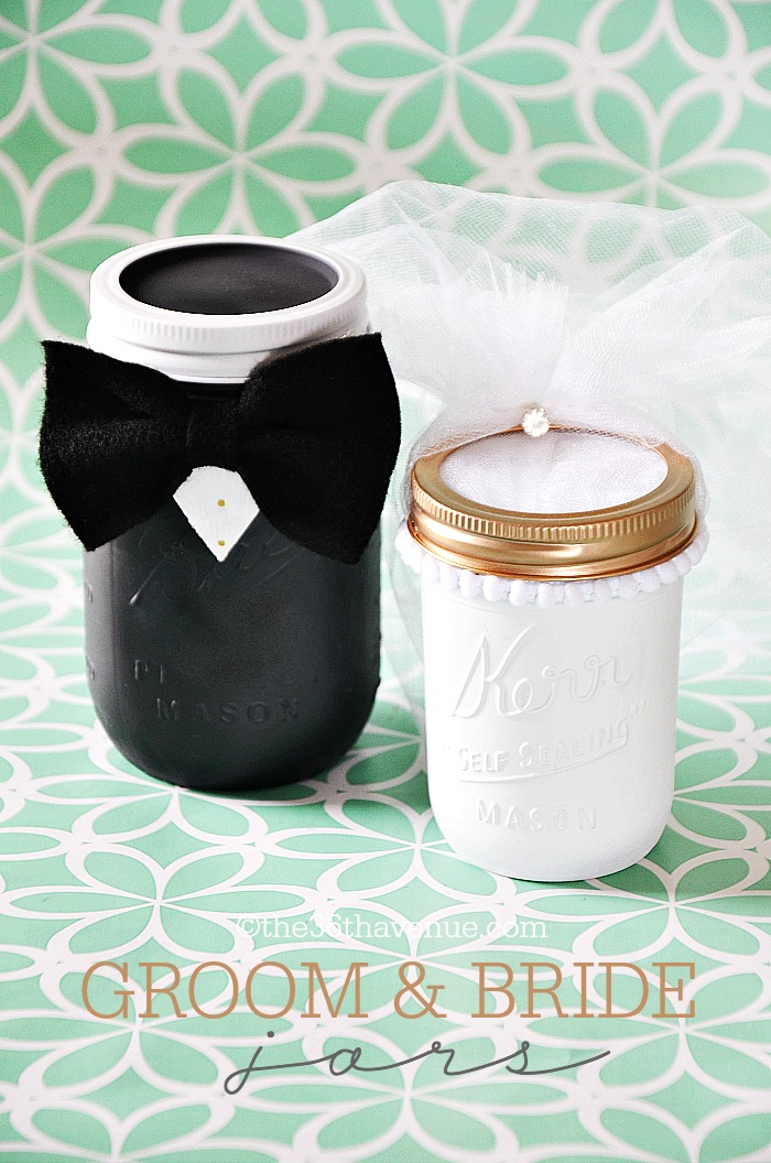 Mason Jar Crafts- Groom and Bride
