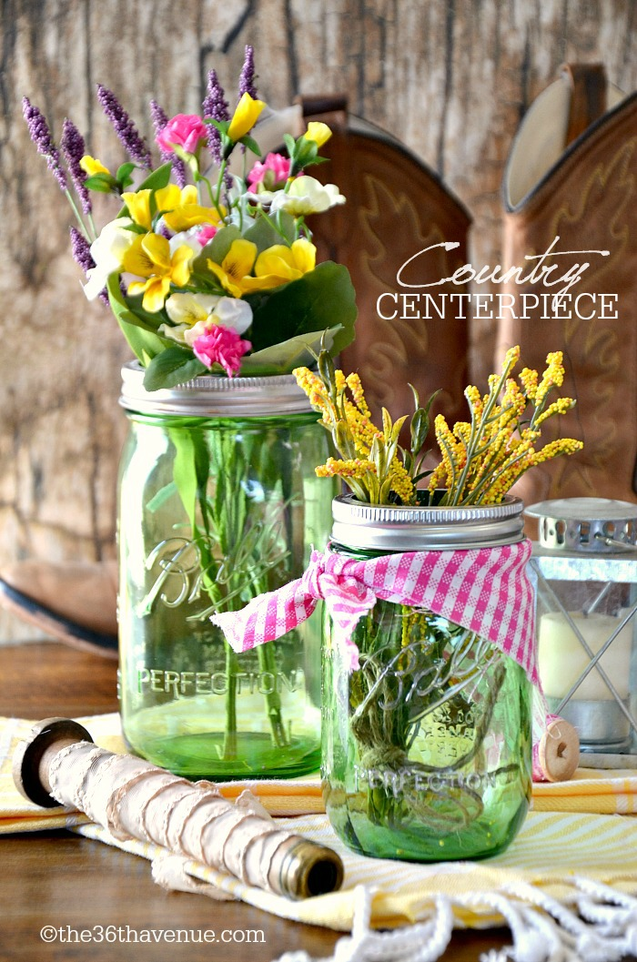 Mason Jar Crafts - Wedding Centerpiece at the36thavenue.com