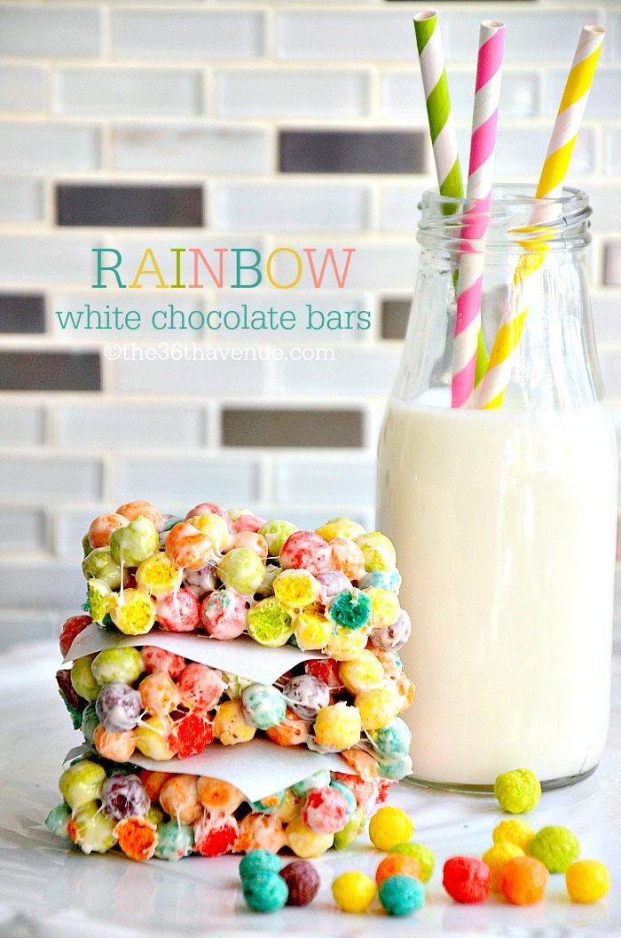 Recipe - White Chocolate Rainbow Bars at the36thavenue.com Pin it now and make them later! #kidsfavorite