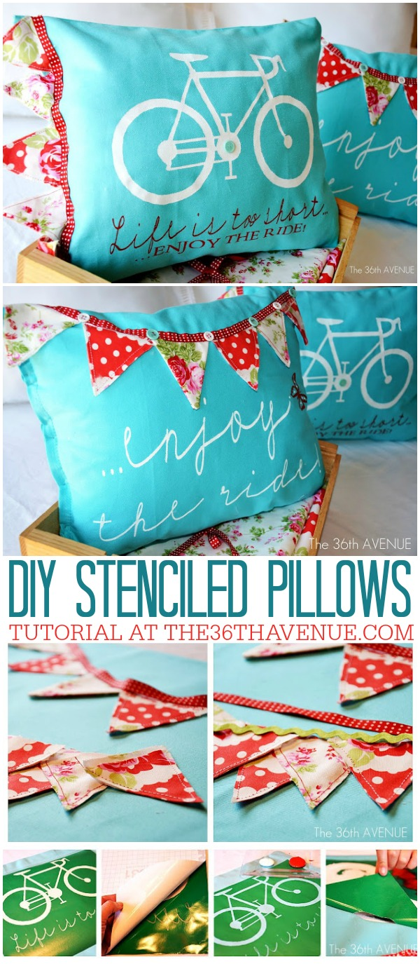 DIY - Stenciled Pillow Tutorial at the36thavenue.com Pin it NOW and make them later!