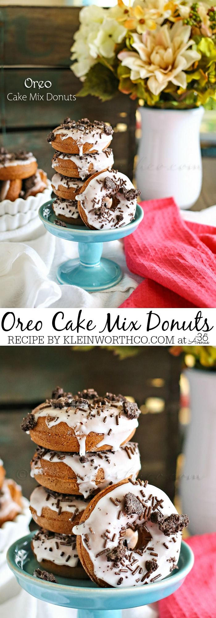 Homemade Donut Recipe - These donuts are made from cake mix and topped with a cream glaze and crumbled Oreo Cookies.