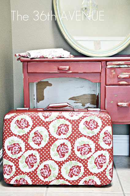 DIY - Crafts : Decoupage Suitcase  Tutorial at the36thavenue.com Pin it now and make it later!