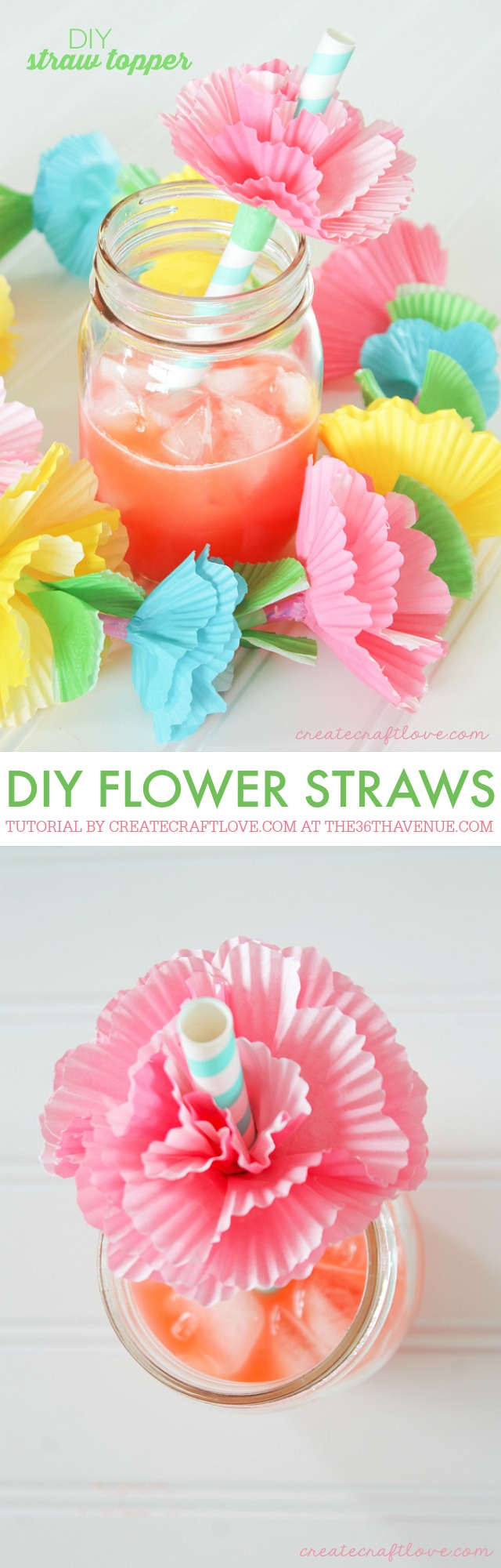 DIY Crafts - Add flare to your next summer gathering with these easy to make DIY Straw Toppers!  via createcraftlove.com for the36thavenue.com
