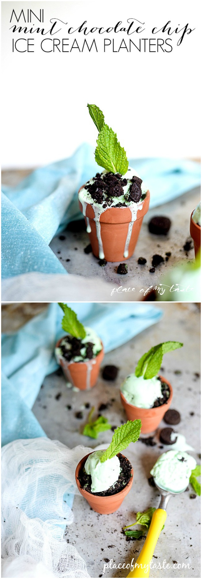 Dessert Recipes - Mini Mint Chocolate Chip Ice Cream Planters by lplaceofmytaste.com  ...Pin it now and make them later!