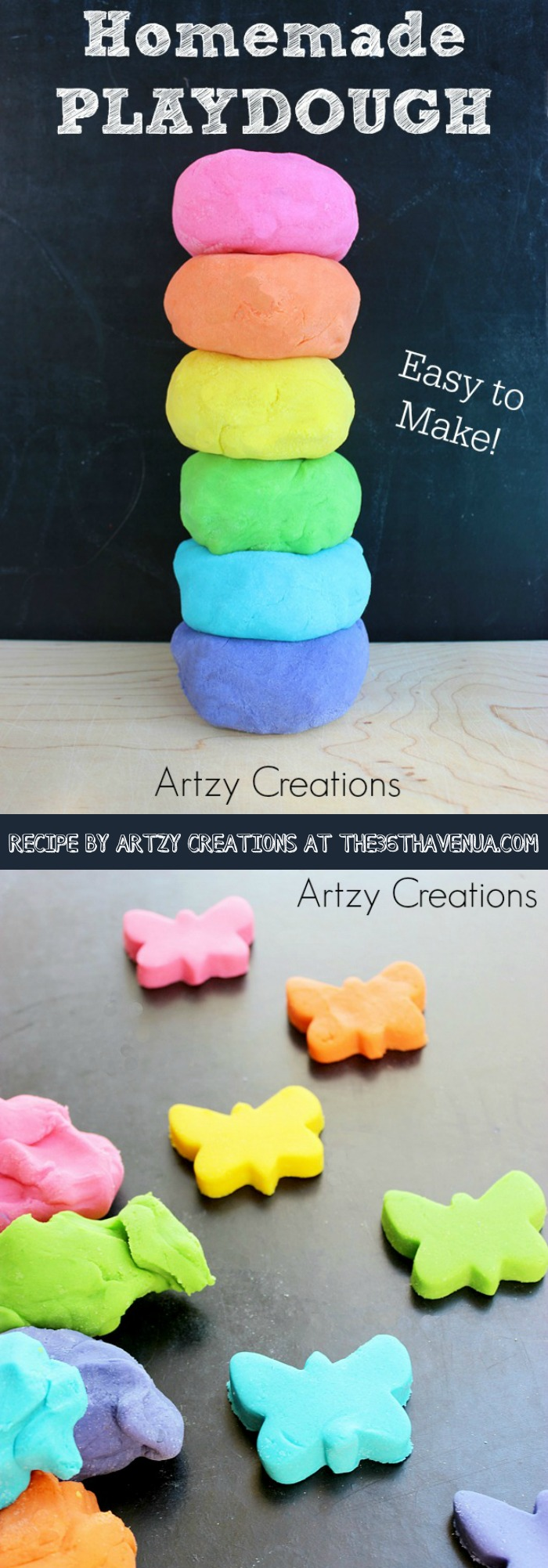 Homemade Play-Dough Recipe by artzycreations.com Pin it now and make it later!