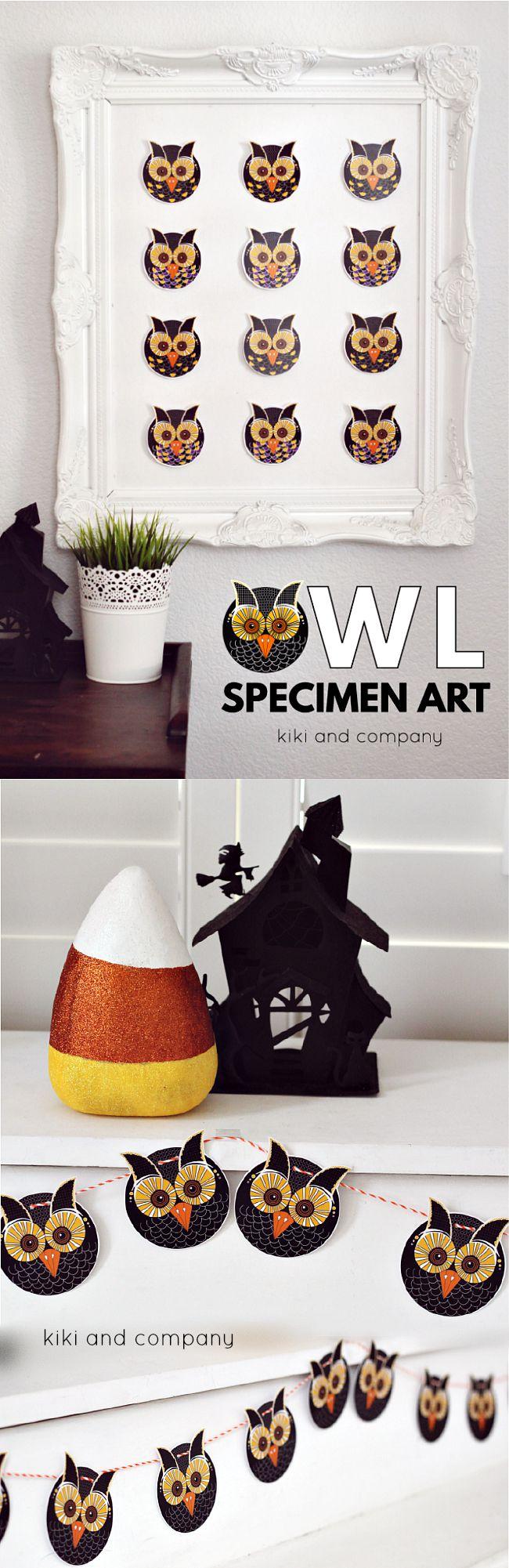 Halloween - Owl-Specimen Art and Free Printable from kikiandcompany ...Super cute!