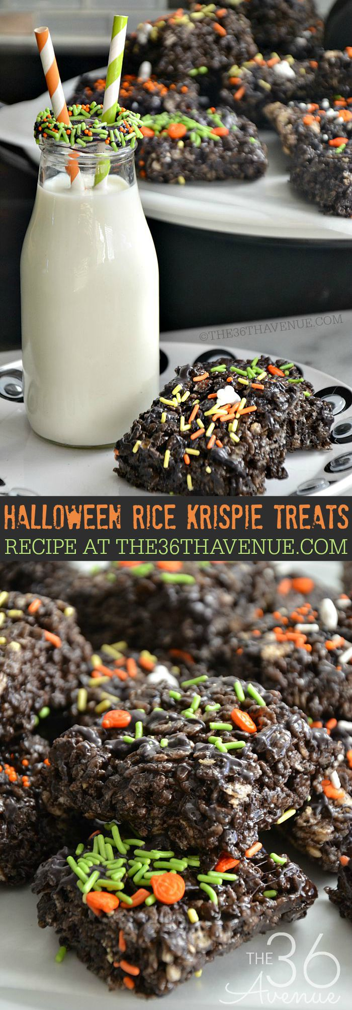 Halloween Rice Krispie Treats at the36thavenue.com ...Click for recipe here : https://www.the36thavenue.com/halloween-rice-krispie-treats/