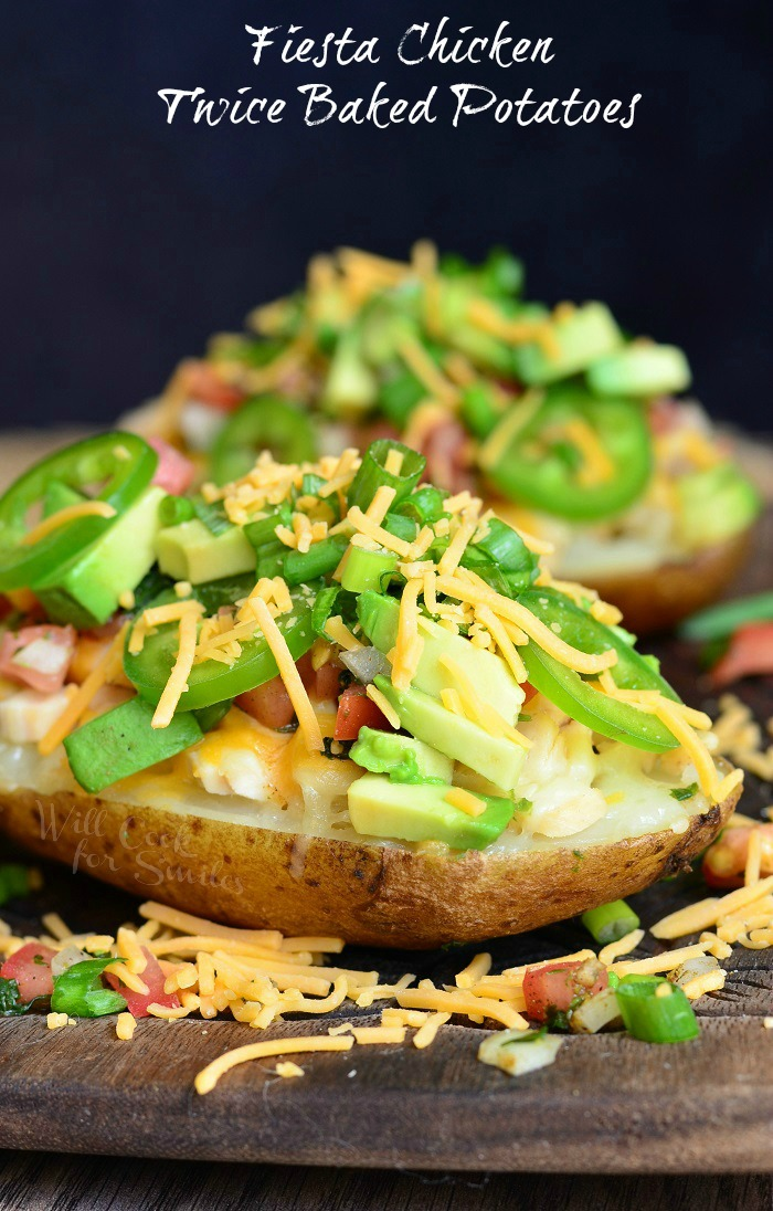 Baked potatoes stuffed with chicken, cheese, pico de gallo, avocado and jalapeños. These Twice Baked Potatoes are delicious and perfect for any day of the week!