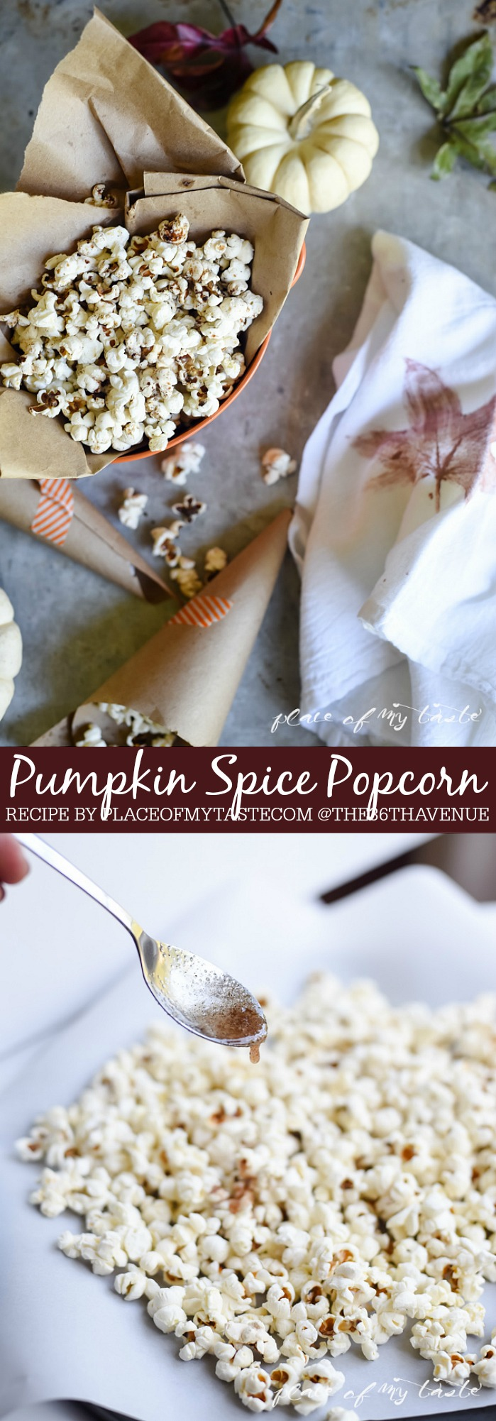 Fall Recipe - This Pumpkin Spice Popcorn is a delicious and festive fall recipe! Perfect to snack on during Thanksgiving or give it away as Halloween treats!