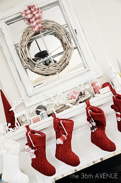 Christmas Decor Ideas - Red and White Festive Christmas Decorations.