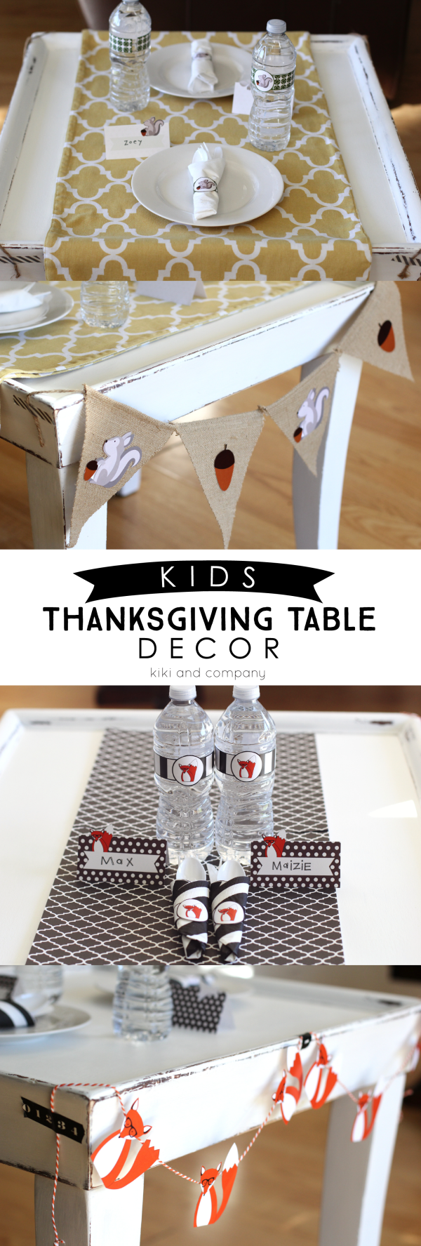 Kids Thanksgiving Table Decor - Super cute free printables to decorate your kids table for Thanksgiving. Print the water bottle labels, place cards, garland, and napkin holders. Everything you need to celebrate Thanksgiving!