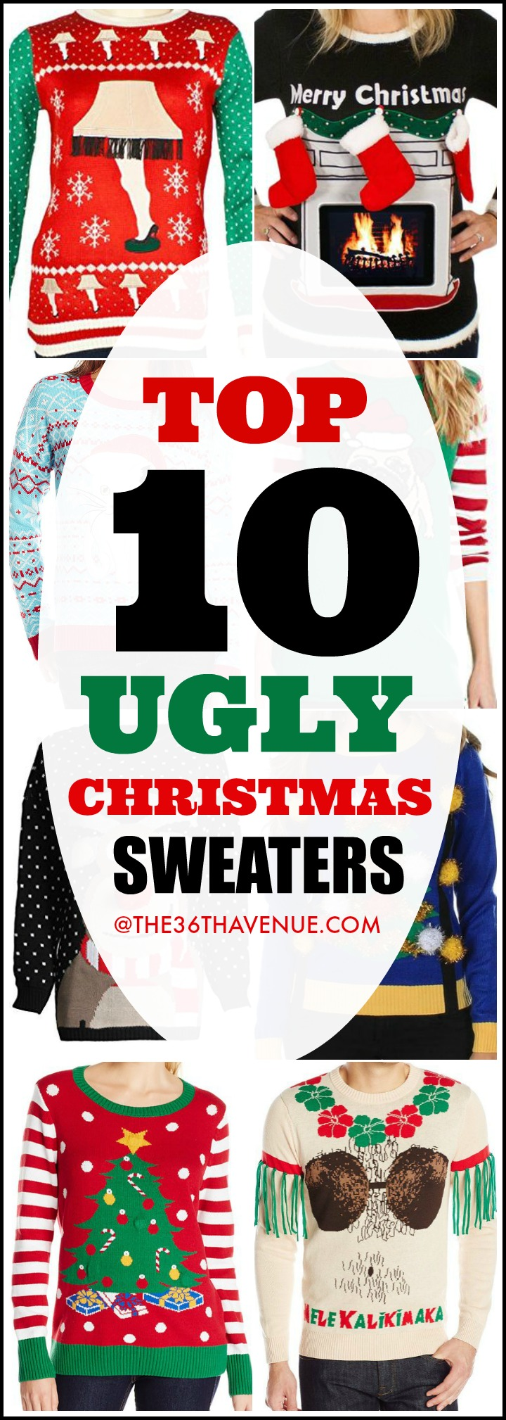 Christmas - Top 10 Ugly Christmas Sweaters - Winter Fashion and Christmas Outfits won't be complete without the fabulous Ugly Christmas Sweater! You can pair them with jeans, leggings, or skirts for everyday wear or to rock any Christmas Party! You have to see them all... PIN IT now for later!