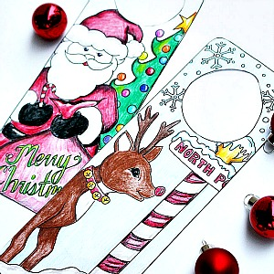Christmas Coloring Page – Door Hanger Printables